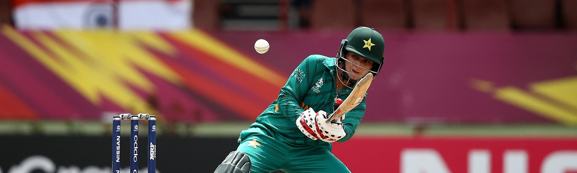 Bismah Mahroof of Pakistan bats during the ICC Women's World T20 2018 match between India and Pakistan at Guyana National Stadium on November 11, 2018 in Providence, Guyana.