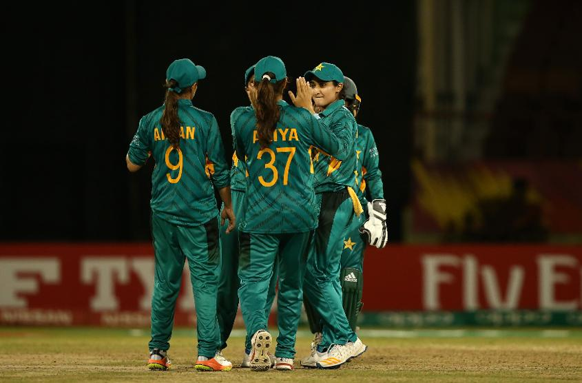 Bismah Mahroof of Pakistan celebrates a wicket with team mates during the ICC Women's World T20 2018 match between Pakistan and Ireland at Guyana National Stadium on November 13, 2018 in Providence, Guyana.