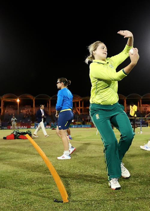 Dane van Niekerk of South Africa warms up ahead of during the ICC Women's World T20 2018 match between Windies and South Africa at Darren Sammy Cricket Ground on November 14, 2018 in Gros Islet, Saint Lucia.