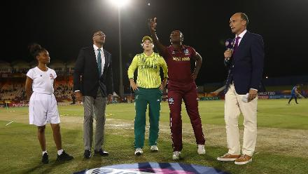 Dane van Niekerk of South Africa and Stafanie Taylor of Windies pictured during the coin toss during the ICC Women's World T20 2018 match between Windies and South Africa at Darren Sammy Cricket Ground on November 14, 2018.