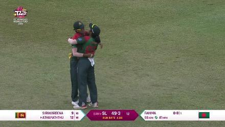 SL v BAN: Fahima Khatun gets the big wicket of Chamari Athapaththu