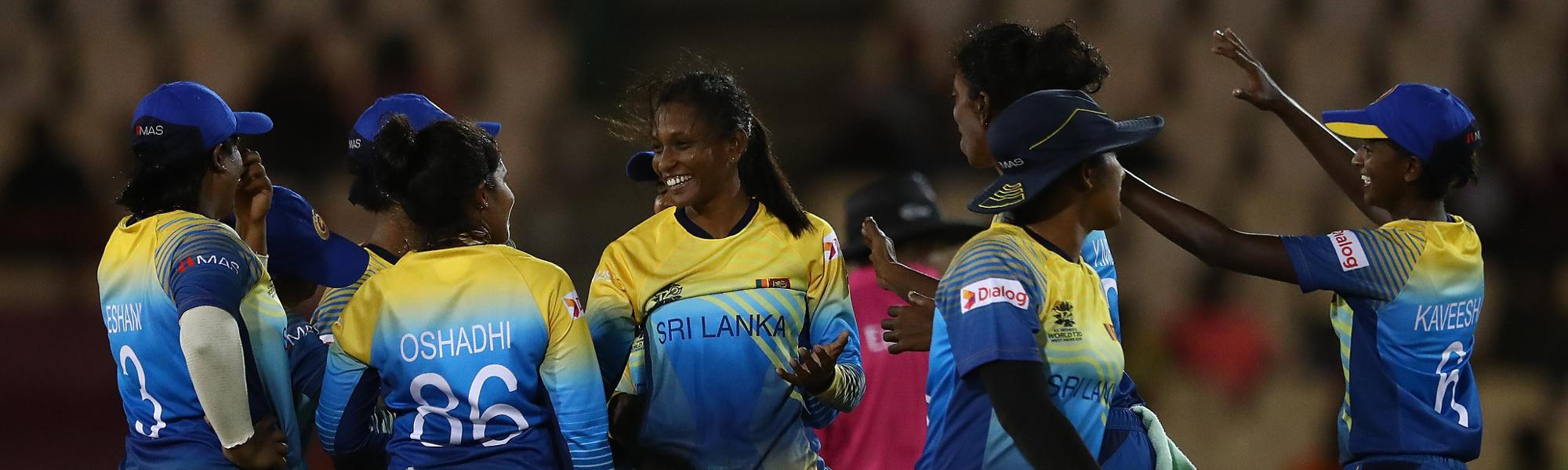 Inoshi Priyadharshani of Sri Lanka celebrates bowling Shamima Sultana of Bangladesh during the ICC Women's World T20 2018 match between Sri Lanka and Bangladesh at Darren Sammy Cricket Ground on November 14, 2018 in Gros Islet, Saint Lucia.