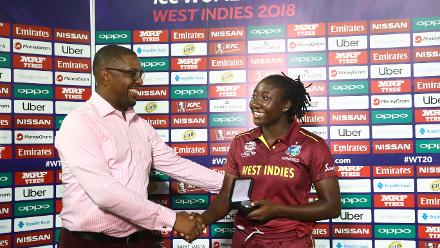 Stafanie Taylor of Windies is presented with the 'Player of the Match' award from Whycliffe Dave Cameron, CWI President after the ICC Women's World T20 2018 match between Windies and South Africa, November 14, 2018.