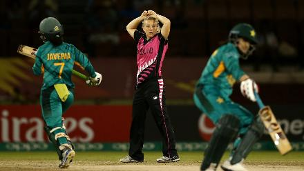 Leigh Kasperek of New Zealand looks on during the ICC Women's World T20 2018 match between New Zealand and Pakistan at Guyana National Stadium on November 15, 2018 in Providence, Guyana.