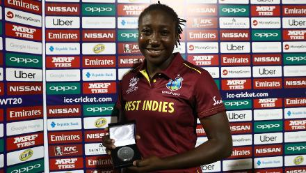 Stafanie Taylor of Windies with the 'Player of the Match' award after the ICC Women's World T20 2018 match between Windies and South Africa at Darren Sammy Cricket Ground on November 14, 2018 in Gros Islet, Saint Lucia.