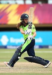 Isobel Joyce of Ireland bats during the ICC Women's World T20 2018 match between India and Ireland at Guyana National Stadium on November 15, 2018 in Providence, Guyana.