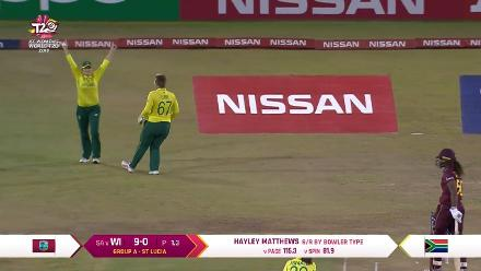 WI v SA: Hayley Matthews caught at slip off Shabnim Ismail