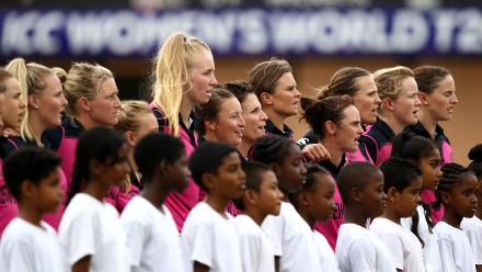 New Zealand players sing their national anthem during the ICC Women's World T20 2018 match between New Zealand and Pakistan at Guyana National Stadium on November 15, 2018 in Providence, Guyana.