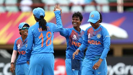 Deepti Sharma of India celebrates her wicket with team mates during the ICC Women's World T20 2018 match between India and Ireland at Guyana National Stadium on November 15, 2018 in Providence, Guyana.