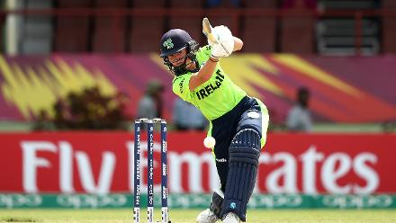 Gaby Lewis of Ireland bats during the ICC Women's World T20 2018 match between India and Ireland at Guyana National Stadium on November 15, 2018 in Providence, Guyana.