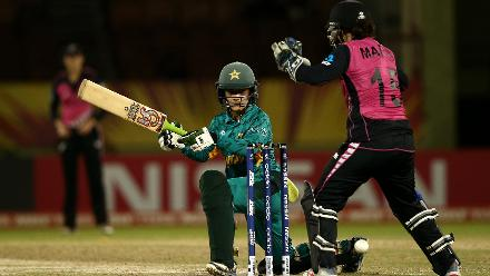 Javeria Khan of Pakistan bats with Katey Martin of New Zealand looking on during the ICC Women's World T20 2018 match between New Zealand and Pakistan at Guyana National Stadium on November 15, 2018 in Providence, Guyana.
