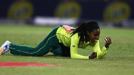 Tumi Sekhukhune of South Africa celebrates catching Natasha McLean of West Indies during the ICC Women's World T20 2018 match between West Indies and South Africa at Darren Sammy Cricket Ground on November 14, 2018 in Gros Islet, Saint Lucia.