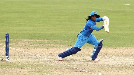 Mithali Raj of India bats during the ICC Women's World T20 2018 match between India and Ireland at Guyana National Stadium on November 15, 2018 in Providence, Guyana.