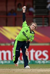 Lucy O'Reilly of Ireland bowls during the ICC Women's World T20 2018 match between India and Ireland at Guyana National Stadium on November 15, 2018 in Providence, Guyana.