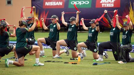 Ireland players warm up during the ICC Women's World T20 2018 match between India and Ireland at Guyana National Stadium on November 15, 2018 in Providence, Guyana.