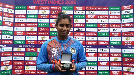 Mithali Raj of India poses with the player of the match award during the ICC Women's World T20 2018 match between India and Ireland at Guyana National Stadium on November 15, 2018 in Providence, Guyana.