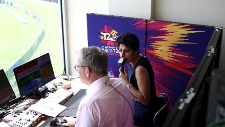 Anjum Chopra and Tom Moody commentate during the ICC Women's World T20 2018 match between India and Ireland at Guyana National Stadium on November 15, 2018 in Providence, Guyana.