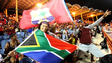 South Africa and Windies fans show their support during the ICC Women's World T20 2018 match between Windies and South Africa at Darren Sammy Cricket Ground on November 14, 2018 in Gros Islet, Saint Lucia.