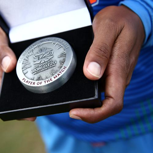 A detailed view of the player of the match award during the ICC Women's World T20 2018 match between India and Ireland at Guyana National Stadium on November 15, 2018 in Providence, Guyana