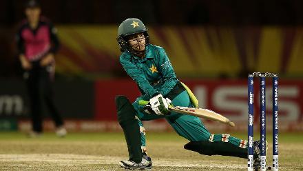 Javeria Khan of Pakistan bats during the ICC Women's World T20 2018 match between New Zealand and Pakistan at Guyana National Stadium on November 15, 2018 in Providence, Guyana.