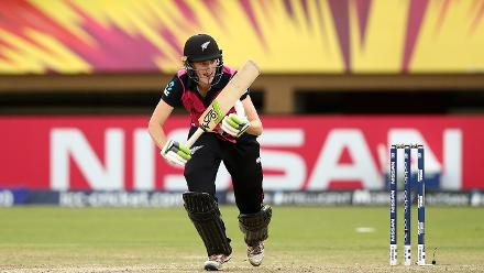 Amy Satterthwaite of New Zealand bats during the ICC Women's World T20 2018 match between New Zealand and Pakistan at Guyana National Stadium on November 15, 2018 in Providence, Guyana.