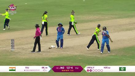 IND v IRE: Lucy O'Reilly yorker gets Veda Krishnamurthy