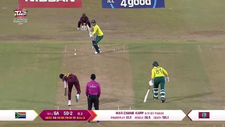 WI v SA: South Africa's Dane van Niekerk run out by Deandra Dottin