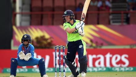 Clare Shillington of Ireland bats with Taniya Bhatia wicket keeper of India looking on during the ICC Women's World T20 2018 match between India and Ireland at Guyana National Stadium on November 15, 2018 in Providence, Guyana.