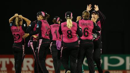 Lea Tahuhu of New Zealand celebrates a wicket with team mates during the ICC Women's World T20 2018 match between New Zealand and Pakistan at Guyana National Stadium on November 15, 2018 in Providence, Guyana.