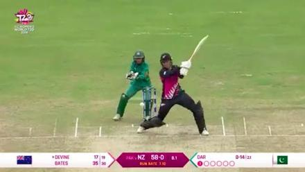 NZ v PAK: Bates is caught and bowled by Nida Dar