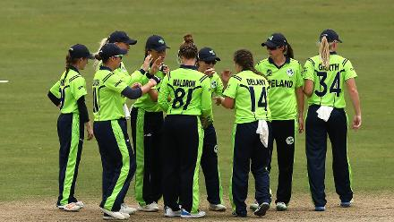 Laura Delany of Ireland celebrates a wicket during the ICC Women's World T20 2018 match between India and Ireland at Guyana National Stadium on November 15, 2018 in Providence, Guyana.