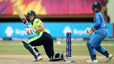 Shauna Kavanagh of Ireland bats with Taniya Bhatia of India looking on during the ICC Women's World T20 2018 match between India and Ireland at Guyana National Stadium on November 15, 2018 in Providence.