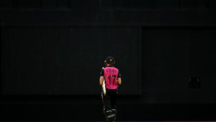 Amy Satterthwaite of New Zealand makes her way back to the dug out during the ICC Women's World T20 2018 match between New Zealand and Pakistan at Guyana National Stadium on November 15, 2018 in Providence, Guyana.