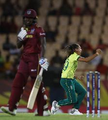 Shabnim Ismail of South Africa celebrates the wicket of Stafanie Taylor of Windies during the ICC Women's World T20 2018 match between Windies and South Africa at Darren Sammy Cricket Ground on November 14, 2018 in Gros Islet, Saint Lucia.