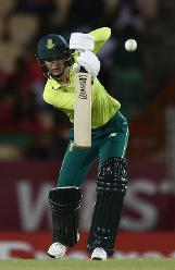 Marizanne Kapp of South Africa drives the ball towards the boundary during the ICC Women's World T20 2018 match between West Indies and South Africa at Darren Sammy Cricket Ground on November 14, 2018 in Gros Islet, Saint Lucia.