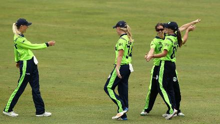 Shauna Kavanagh of Ireland celebrates a catch with team mates during the ICC Women's World T20 2018 match between India and Ireland at Guyana National Stadium on November 15, 2018 in Providence, Guyana.