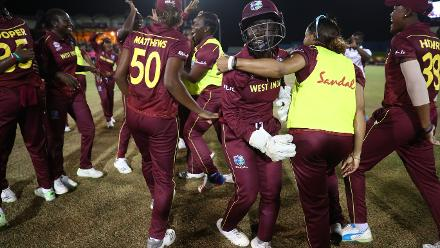 Windies celebrate their win over South Africa during the ICC Women's World T20 2018 match between Windies and South Africa at Darren Sammy Cricket Ground on November 14, 2018 in Gros Islet, Saint Lucia.