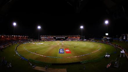 A general view of the Daren Sammy Cricket ground during the ICC Women's World T20 2018 match between Windies and South Africa at Darren Sammy Cricket Ground on November 14, 2018 in Gros Islet, Saint Lucia.