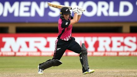 Sophie Devine of New Zealand bats during the ICC Women's World T20 2018 match between New Zealand and Pakistan at Guyana National Stadium on November 15, 2018 in Providence, Guyana.