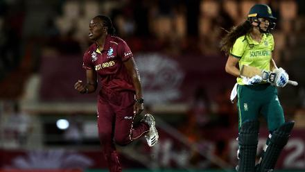 Shakera Selman of Windies celebrates the wicket of Laura Wolvaardt of South Africa, after she was caught by Chinelle Henry of Windies during the ICC Women's World T20 2018 match between West Indies and South Africa, November 14, 2018.