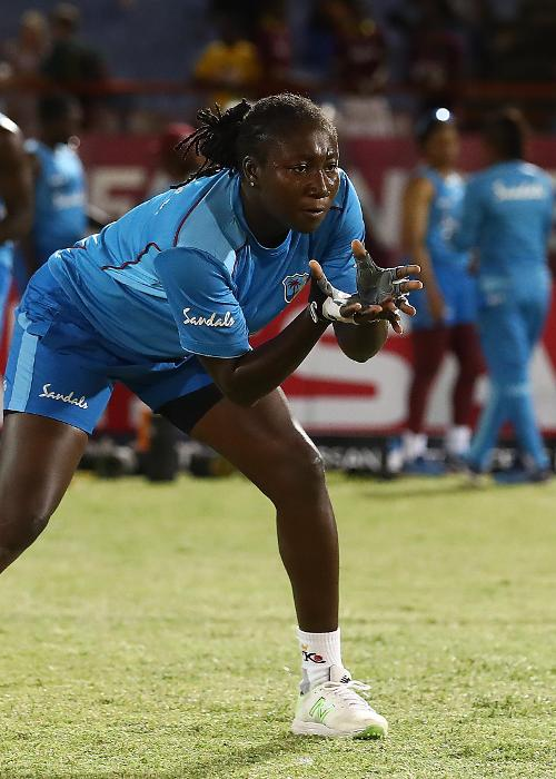 Stafanie Taylor of West Indies warms up ahead of the ICC Women's World T20 2018 match between West Indies and Sri Lanka at Darren Sammy Cricket Ground on November 16, 2018 in Gros Islet, Saint Lucia.