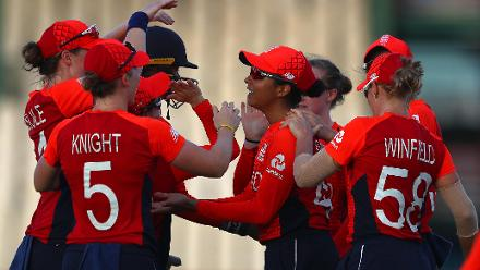 Sophia Dunkley of England is congratulated on catching Marizanne Kapp of South Africa during the ICC Women's World T20 2018 match between England and South Africa at Darren Sammy Cricket Ground on November 16, 2018 in Gros Islet, Saint Lucia.