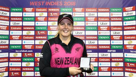 Jess Watkin of New Zealand poses with the player of the match award during the ICC Women's World T20 2018 match between New Zealand and Pakistan at Guyana National Stadium on November 15, 2018 in Providence, Guyana.