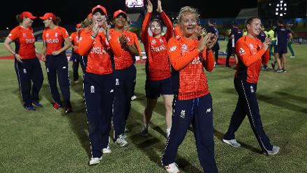 England players celebrate their win during the ICC Women's World T20 2018 match between England and South Africa at Darren Sammy Cricket Ground on November 16, 2018 in Gros Islet, Saint Lucia.