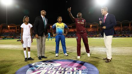 Stafanie Taylor of West Indies and Charmari Atapattu of Sri Lanka pictured during the coin toss ahead of the ICC Women's World T20 2018 match between West Indies and Sri Lanka at Darren Sammy Cricket Ground on November 16, 2018 in Gros Islet, Saint Lucia.