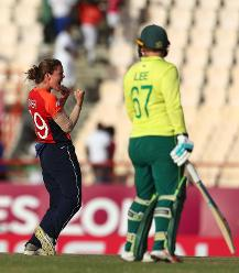 Natalie Sciver of England celebrates bowling Lizelle Lee of South Africa for LBW during the ICC Women's World T20 2018 match between England and South Africa at Darren Sammy Cricket Ground on November 16, 2018 in Gros Islet, Saint Lucia.