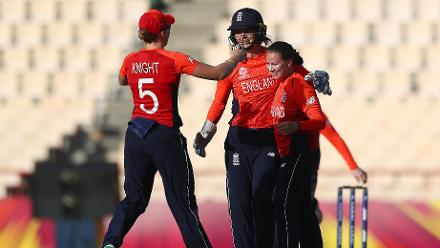 Heather Knight of England congratulates Linsey Smith of England on the wcket of Laura Wolvaardt of South Africa during the ICC Women's World T20 2018 match between England and South Africa at Darren Sammy Cricket Ground on November 16, 2018.