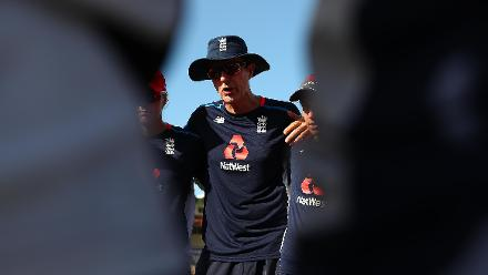 Mark Robinson, Coach of England talks to his team during the ICC Women's World T20 2018 match between England and South Africa at Darren Sammy Cricket Ground on November 16, 2018 in Gros Islet, Saint Lucia.