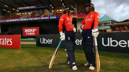 Tammy Beaumont of England and Danielle Wyatt of England go out to bat during the ICC Women's World T20 2018 match between England and South Africa at Darren Sammy Cricket Ground on November 16, 2018 in Gros Islet, Saint Lucia.