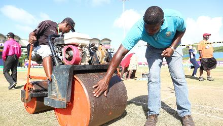 Groundsman Kent Crafton in action during the ICC Women's World T20 2018 match between England and South Africa at Darren Sammy Cricket Ground on November 16, 2018 in Gros Islet, Saint Lucia.
